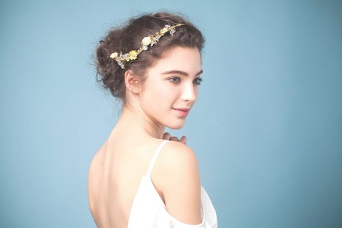 Lean ◆ ◆ bright gold floral golden vintage bride bridal lace flower handmade bridal jewelry headdress decorated wedding marriage Fa freshwater outdoor photo Jane bride headdress