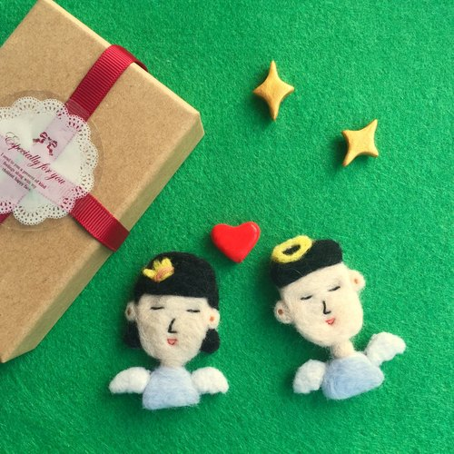 summerlol [Buy 2] Free shipping dual necklace handmade wool felt handmade angel doll couple humanoid brooch pin Angel Lover wool felt brooch