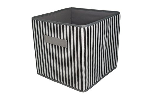 [HousePal] Terence stripes Folding Storage Basket (black and white) - Square