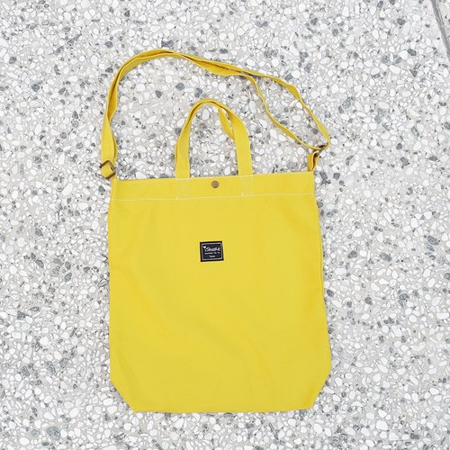 8K with three monochrome tote bag - bright yellow (portable oblique shoulder tutorial / book / messenger bags)