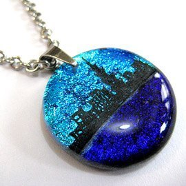 Taipei City Silhouette (silver blue / purple) - Jewelry glass necklace