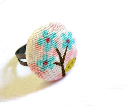 Hand-made cloth buttons cherry tree rings