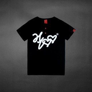 Graffiti Fonts red button Henley collar short Tee - Black (M size only)