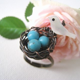 Guardian home. Handmade copper bird nest and shell ring