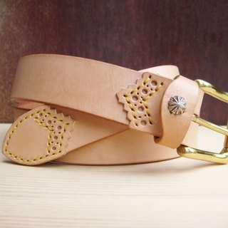 [ISSIS] primary vegetable-tanned cowhide hand-carved belt