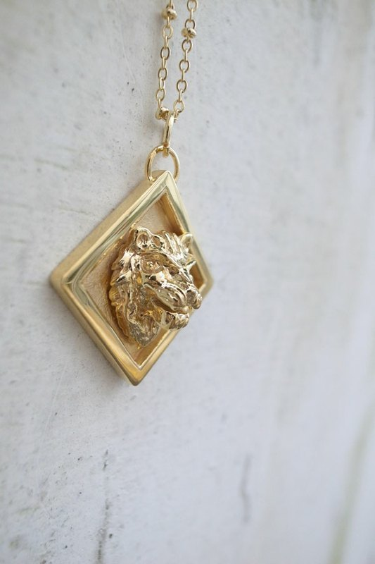Human Free Series~18K Gold Plated Brass Lion Square Medal Necklace
