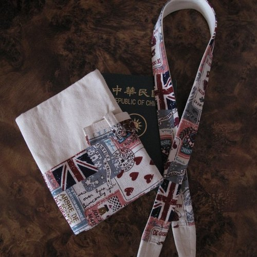 British style - Passport Case + camera strap (can be customized)