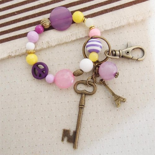 Tian mind - key + Eiffel Tower key ring beaded bracelet