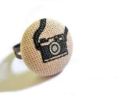 Ring hand-made cloth buttons camera