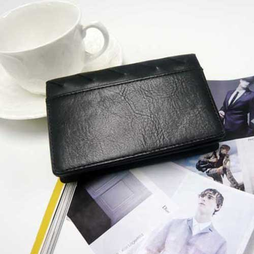Designer boutique series - Superior stitching leather business card holder (fashion black + sapphire)