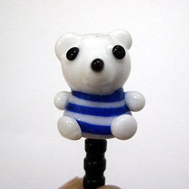 The polar bear in blue pinstripe suit / glass phone headset dust plug
