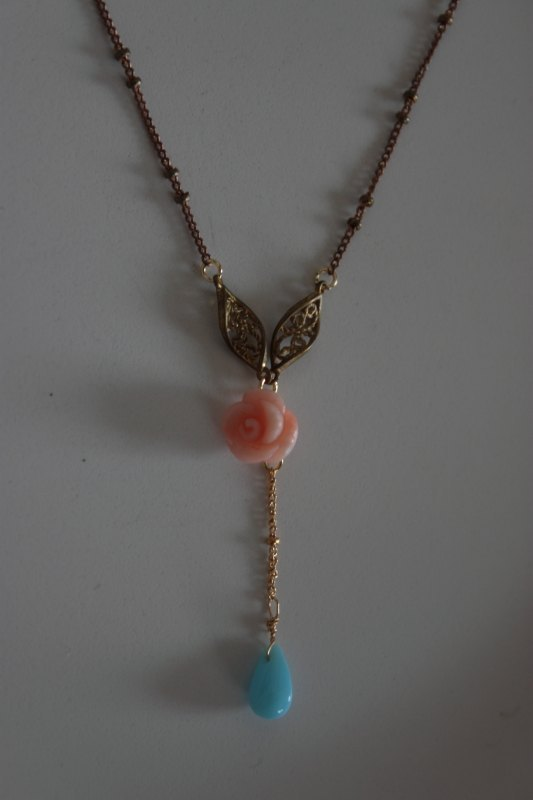 Natural sea bamboo Rose Necklace