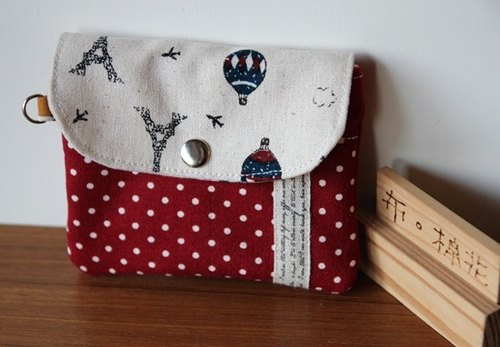 [Cloth. Cotton] double purse little red purse Clutch Purse covered