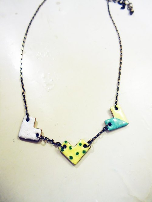 Simple Love Simple Love Necklace modeling enamel necklace (white yellow and green)