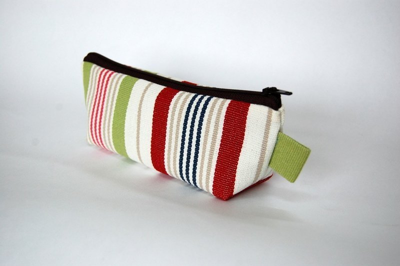 / Product Description / Casual-life hand-made striped cosmetic bag / Pencil