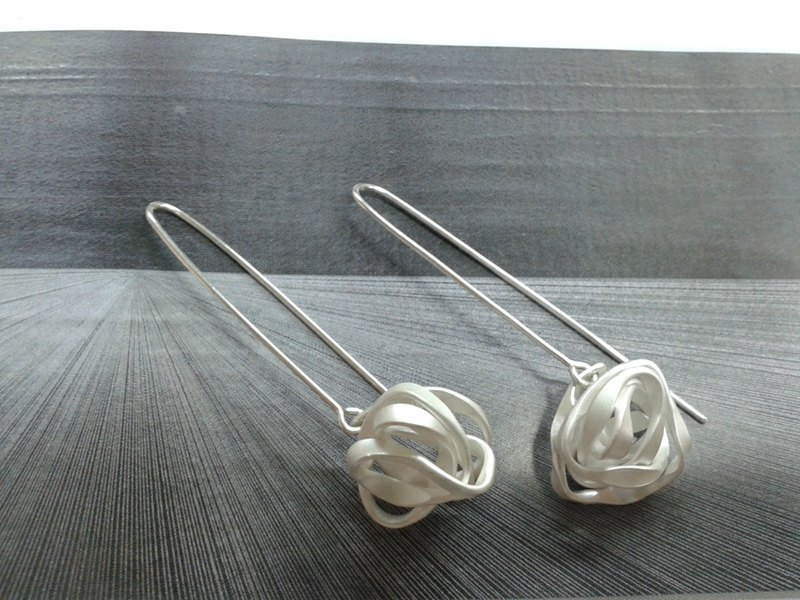 Sterling Silver Earrings, Forged Collection Forging collection Sterling Silver Earrings FGE002 Taiwanese designer handmade silverware