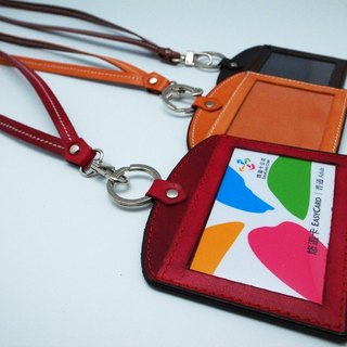 Genuine leather hand-dyed identification card clip + neck strap combination