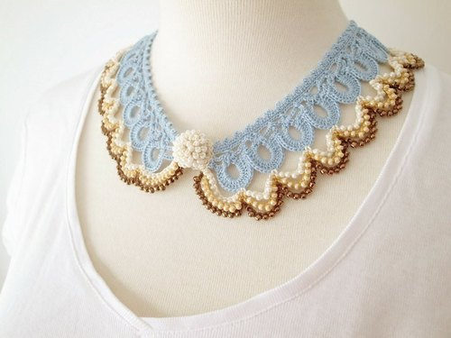 Crochet Lace Collor (Beaded Lace Collor 1-c)