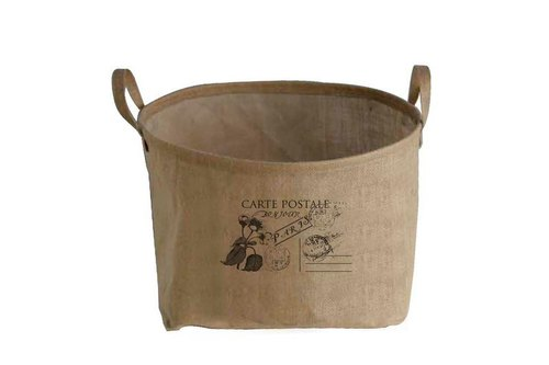 "Fill in the Blank ""natural hemp fabric furniture series - Village mention skill long linen storage basket L - CARTE POSTALE (French: Postcard)"