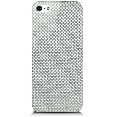 monCarbone [HoverCoat Plus] iPhone 5S / 5 Carbon Fiber Case (Silver)