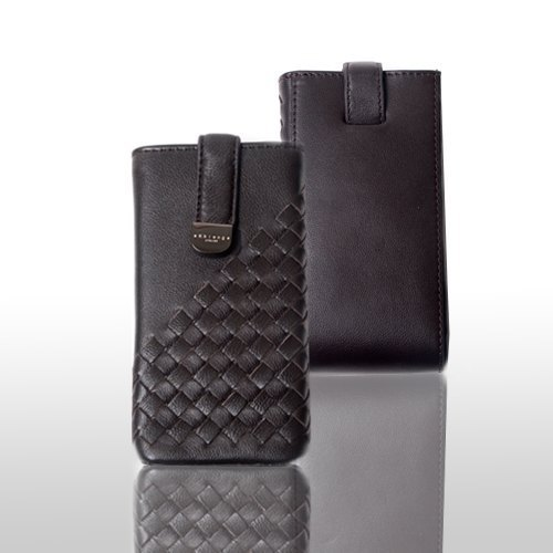 3C accessories - designer section - hand-woven design half lambskin leather phone - twill weave