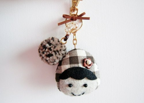 Brown Plaid baby Straps / Key Chains