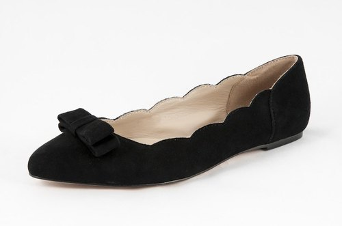 Coco-002m-05 wavy black velvet trim bow pointed flat shoes