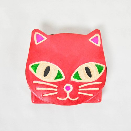 Suede purse _ big eyes cat