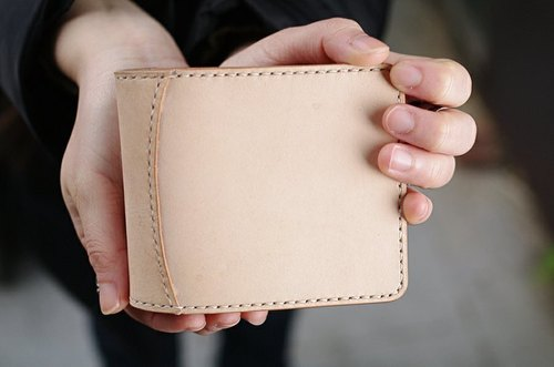 Natural Vegetable Tanned Custom Leather Short Wallet / Original / Free Color Selection / Handmade