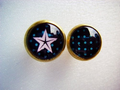 OldNew Lady- small round ear acupuncture / Earrings. Complex Gu Pupu wind (Green / star)