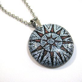 Silver Sun Totem (silver pink / silver blue sheen) - Jewelry Glass