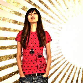 [Followwear] Get me out of here UFO Robot red striped T-shirt M / F