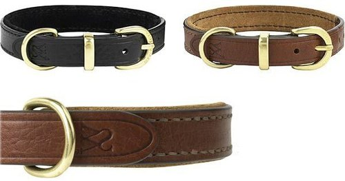 Wes [W & amp; S] elegant suede leather collar - Size XS, black
