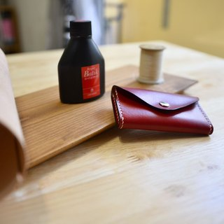 """MY HAND'S Leather Craft"" - Coin Purse (Single Card Layer) - Hand Sewing - Hand Dyeing - Red"