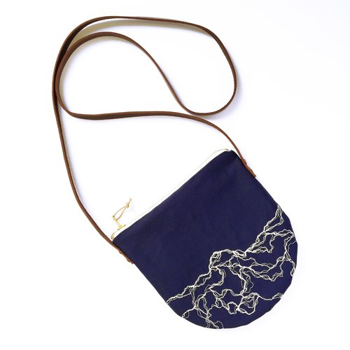 Marble embroidery pattern cross body bag, leather strap small crossbody bag, navy blue sling bag, minimalist round bag,
