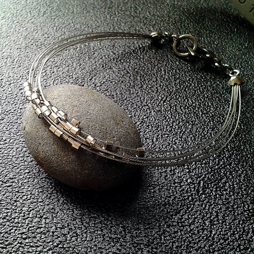 EarringFanatic Milky meteorite metal multilayer silver bracelet