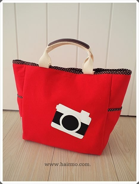 [Hair. mo] black and white camera 2way Tote - Red