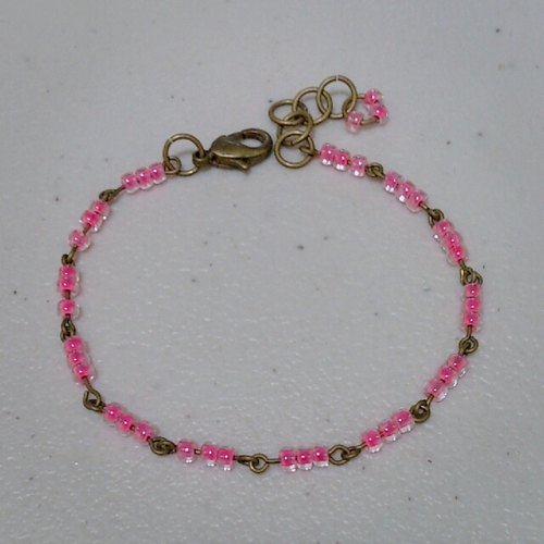Brass transparent powder Bracelet - Pink