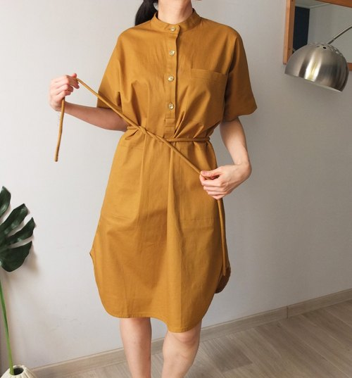 Brown mustard yellow tie shirt-style dress