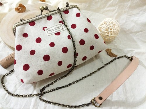 Hand-made bronze mouth gold package chain bag dual-slung original leather cosmetic bag - grocery red dot Talasite