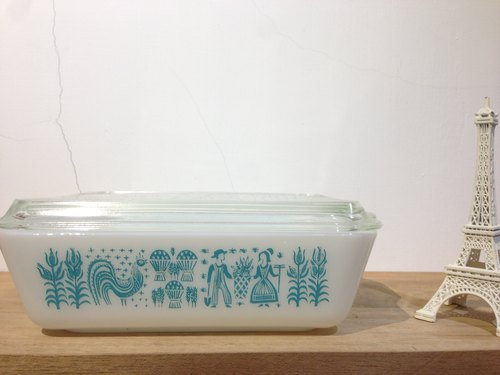 PYREX BUTTERPRINT REFRIGERATOR antique glass crisper (large)