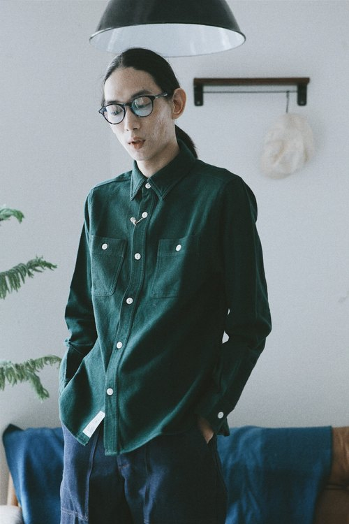 Rolling on - HOUSTON thick pound shirt CHAMBRAY WORK SHIRT / Green