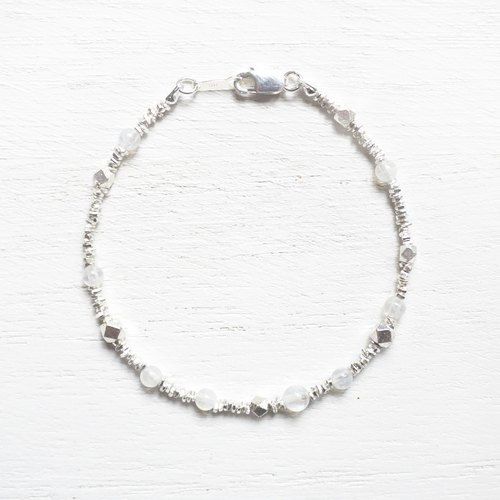 Rain and snow | 925 Silver irregular multi Cutaway Moonstone bracelet natural stone bracelet
