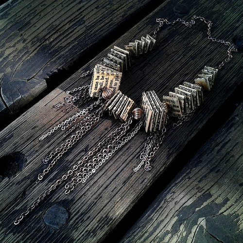 Muse recycled paper origami design [small through smoke] vintage tassel necklace bronze