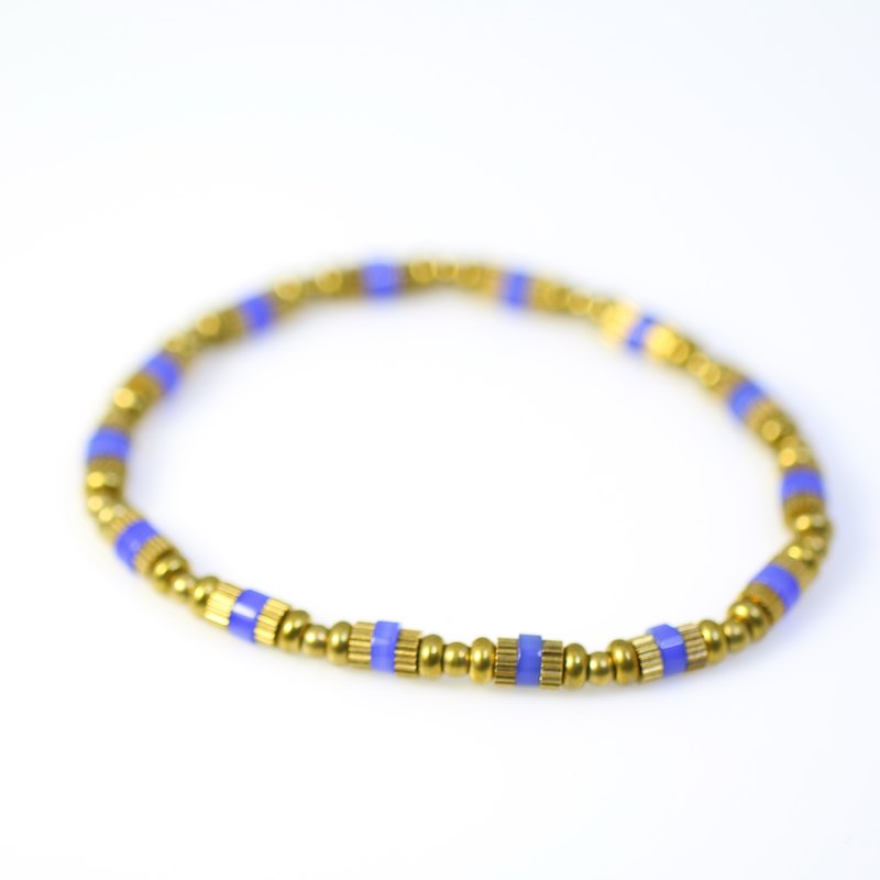 [ColorDay] bright copper gold ~~ blue agate bracelet
