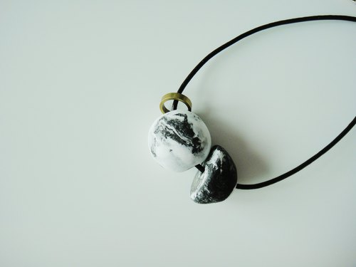 MARBLE- black semicircle brass necklace / handmade handmade / gift ornaments