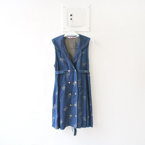 │Slowly│ breasted retro time vintage denim dress │vintage. Retro. England. Art. Japanese girl. Forest. Sweet. Classic