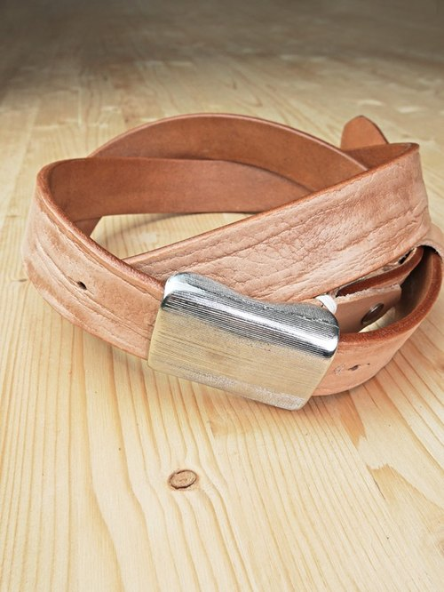 Grain cowhide narrow version belt