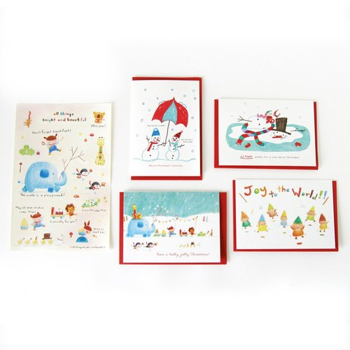 Snowman Christmas packages sent stickers! Christmas card set