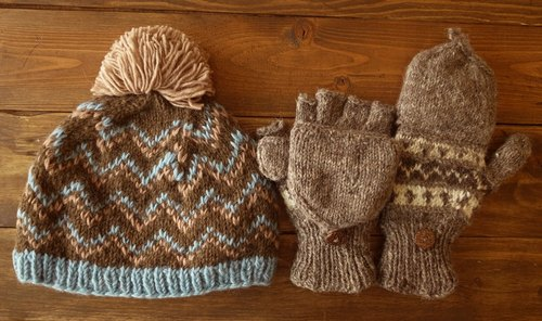 [Music tempo anniversary and Christmas promotions] for all the warm group optionally whole museum _ _ pure wool knit gloves caps + 9% off (caps 880 yuan combination)